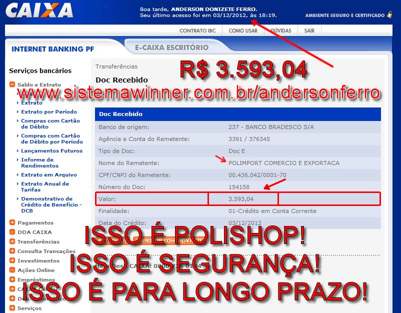 Polishop com voce - Multinivel da Polishop - Comprovante de Resultados Polishop